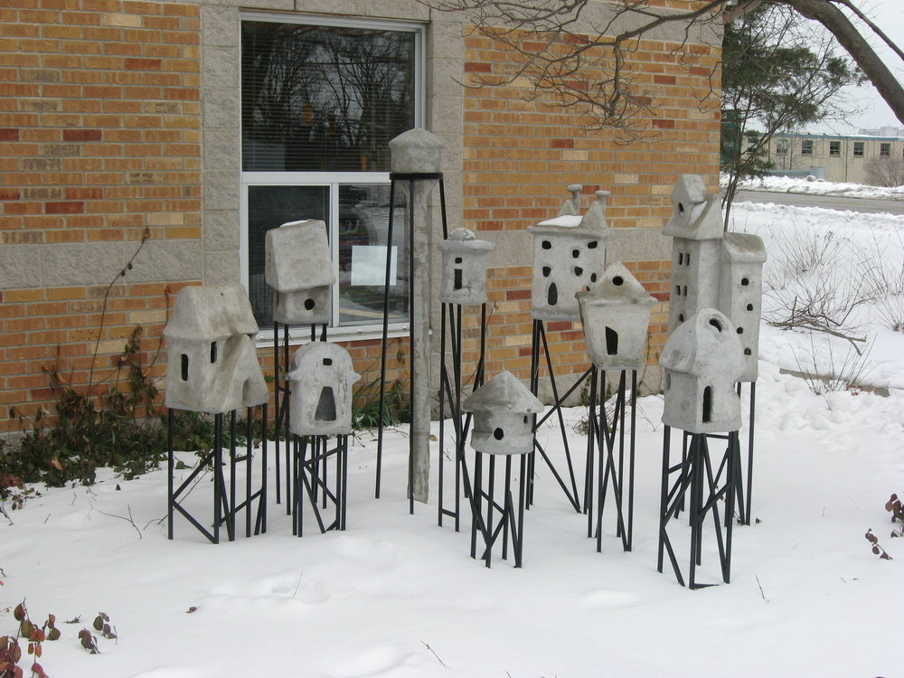 """City on Stilts"" art installation at Mill Courtland Community Centre in Kitchener, Ontario"