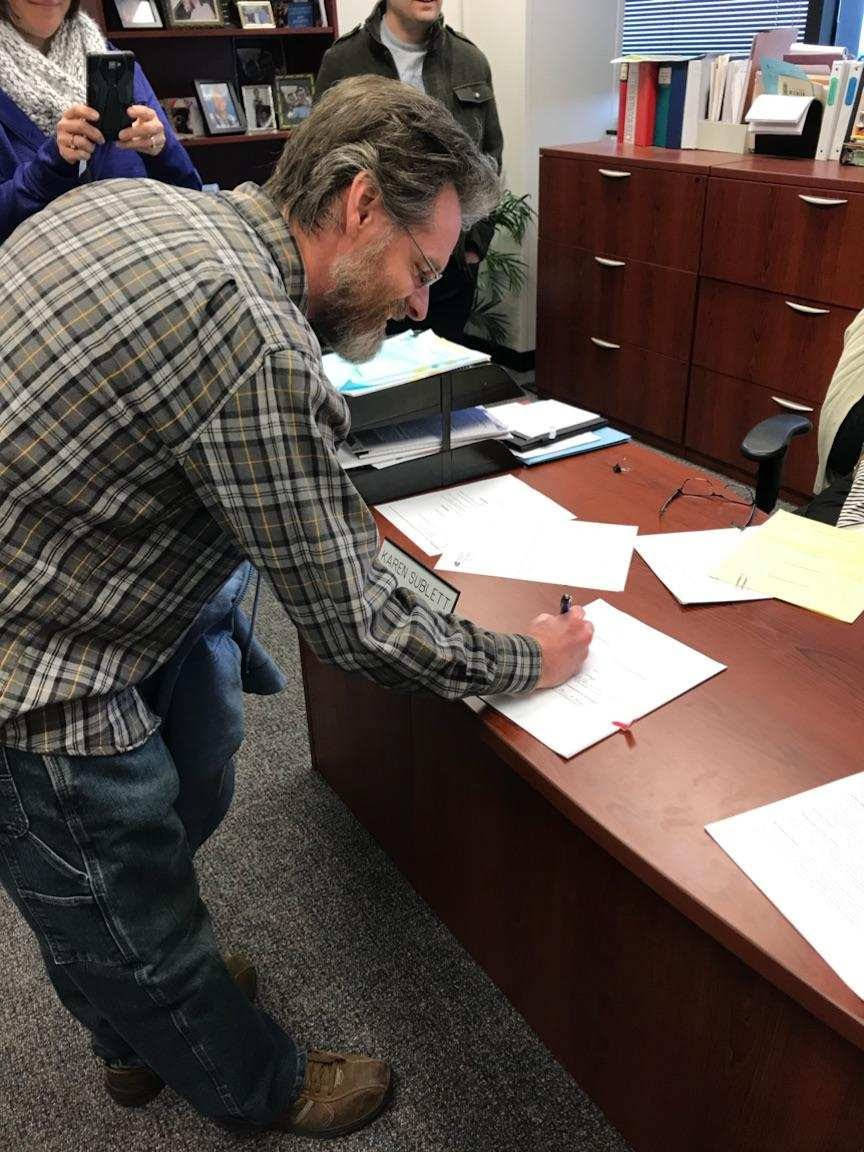 I had the privilege of signing the final paperwork, making our grant official.