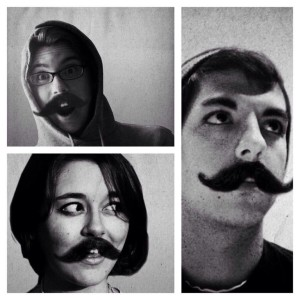 "The mustachioed images he created of me (top), ""John Hamm"" (bottom) and himself (right)."