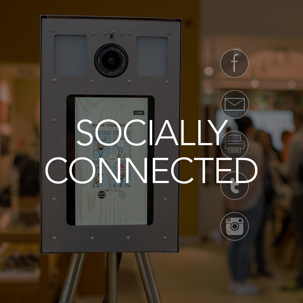 small photo booth is socially connected for sharing on Facebook, Twitter & Instagram