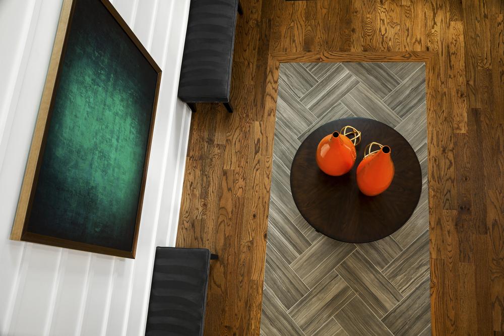 Wood Flooring With Ceramic Inlay Design for The Interior Partners, Atlanta, GA