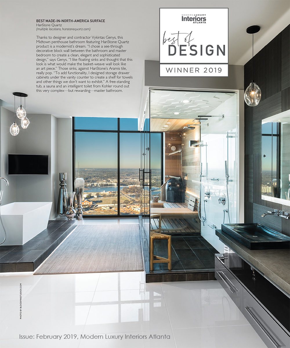 A tearsheet from the February 2019 issue of Modern Luxury Interiors Atlanta magazine.