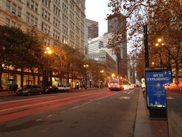 Leaving for the day into a gorgeous Autumn San Francisco at  dusk.
