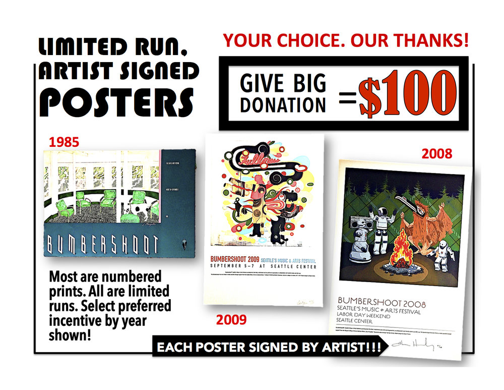 Send us your $100 donation request via email. Just ask for  POSTER + THE YEAR  shown near the poster you like .   Email to: GAVEBIG@ONEREEL.ORG