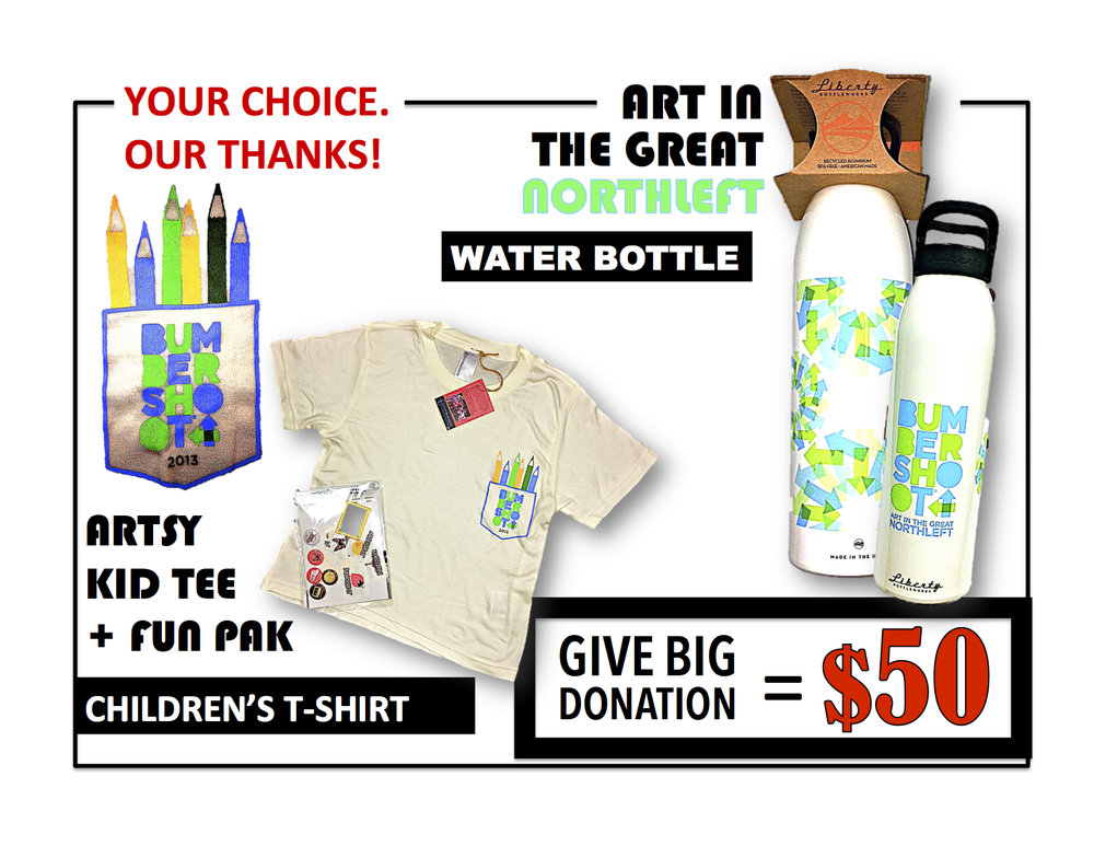 Just request      WATER BOTTLE    or    KIDS      in your $50 donation follow up email to us!  Email to: GAVEBIG@ONEREEL.ORG