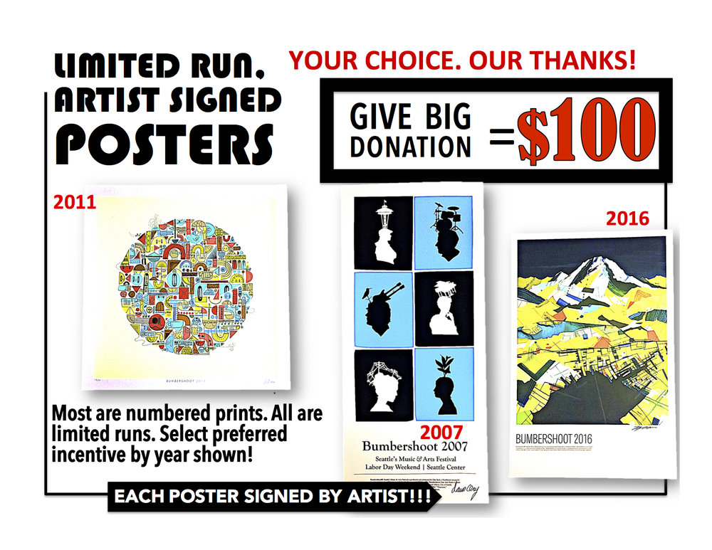 Send us your $100 donation request via email. Just ask for  POSTER + THE YEAR  shown near the poster you like.  Email to:GAVEBIG@ONEREEL.ORG