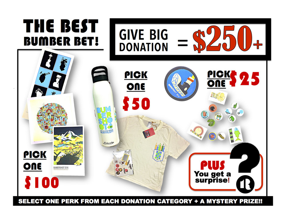 Okay... this one's a bit tougher, but oh-so worth it. Send us your request based on the  instructions below each of the items you want (3 total - choose one from the $100, $50 & $25 picks) We'll handle the rest.  Email to:GAVEBIG@ONEREEL.ORG