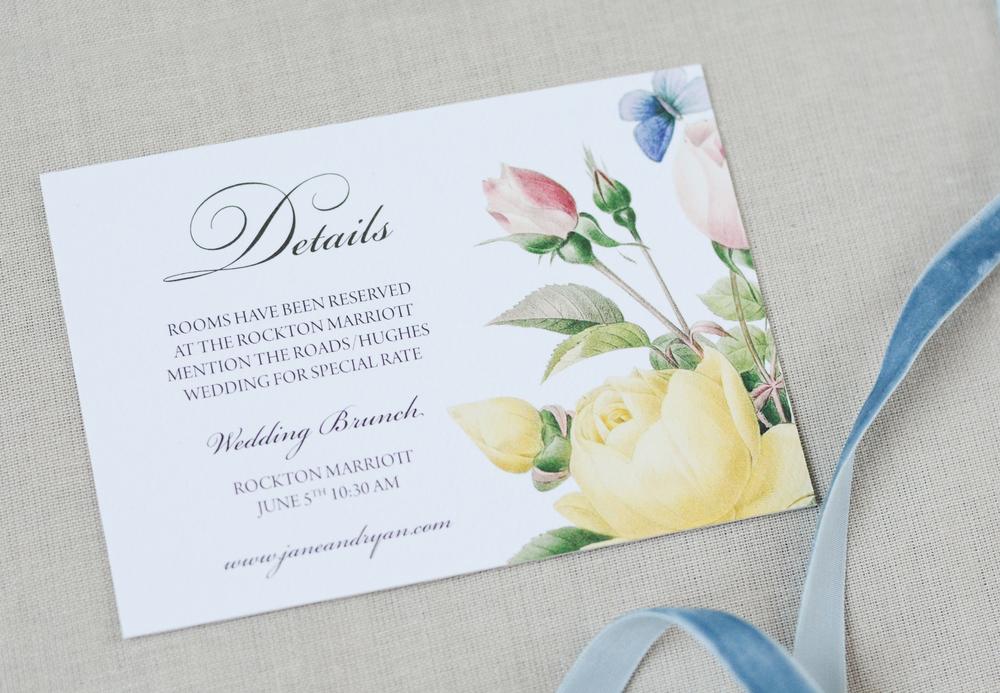 Soft Romantic Vintage Botanical Illustration Wedding Suite
