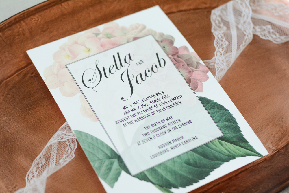 Classic Vintage Botanical Wedding Invitation Suite