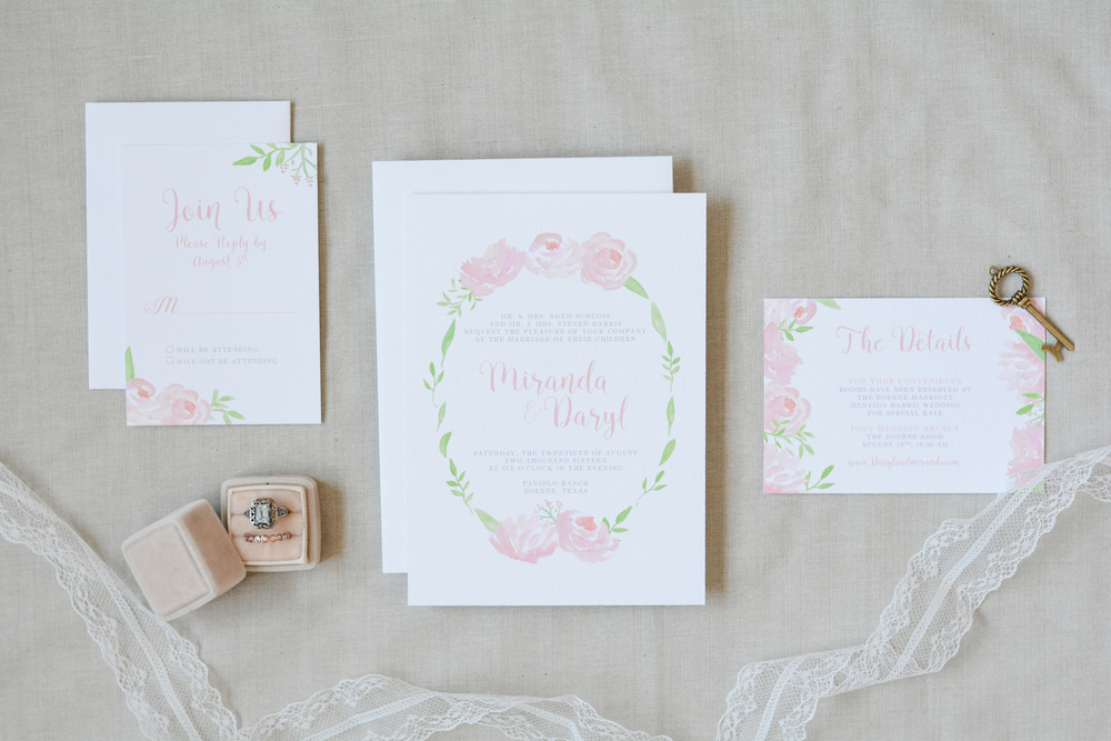 Hand Painted Soft Romantic Watercolor Flower Wedding Suite