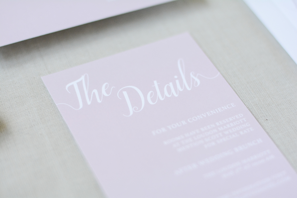Classic Blush Color Modern Wedding Invitation