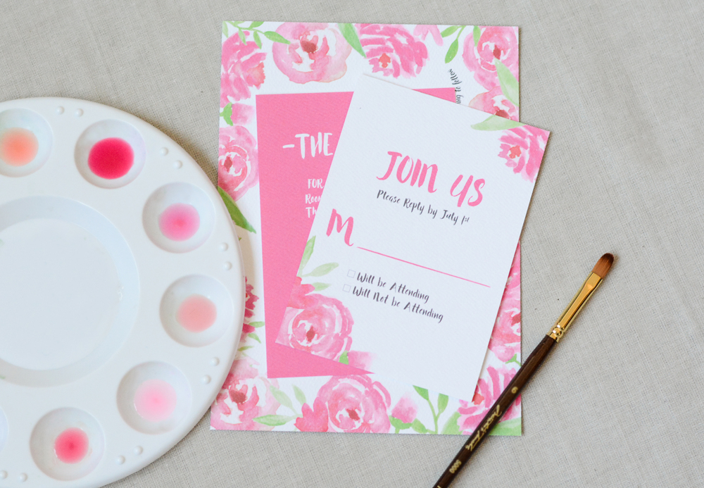 Hand Painted Watercolor Flower Wedding Invitation Suite