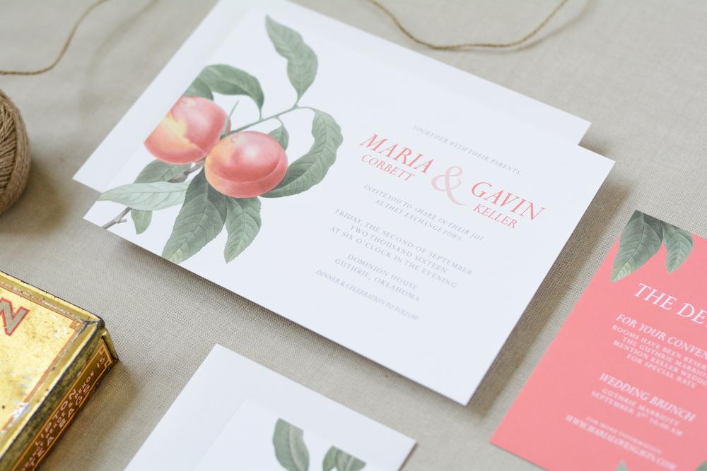 Vintage Rustic Botanical Peach Wedding Suite