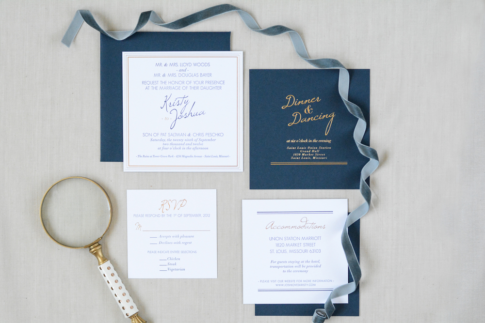 Classic Navy and Gold Wedding invitation suite