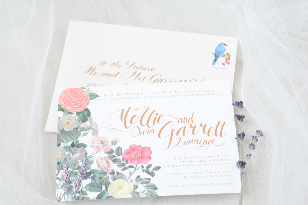 Vintage Botanical Rose Gold Wedding Invitation Suite