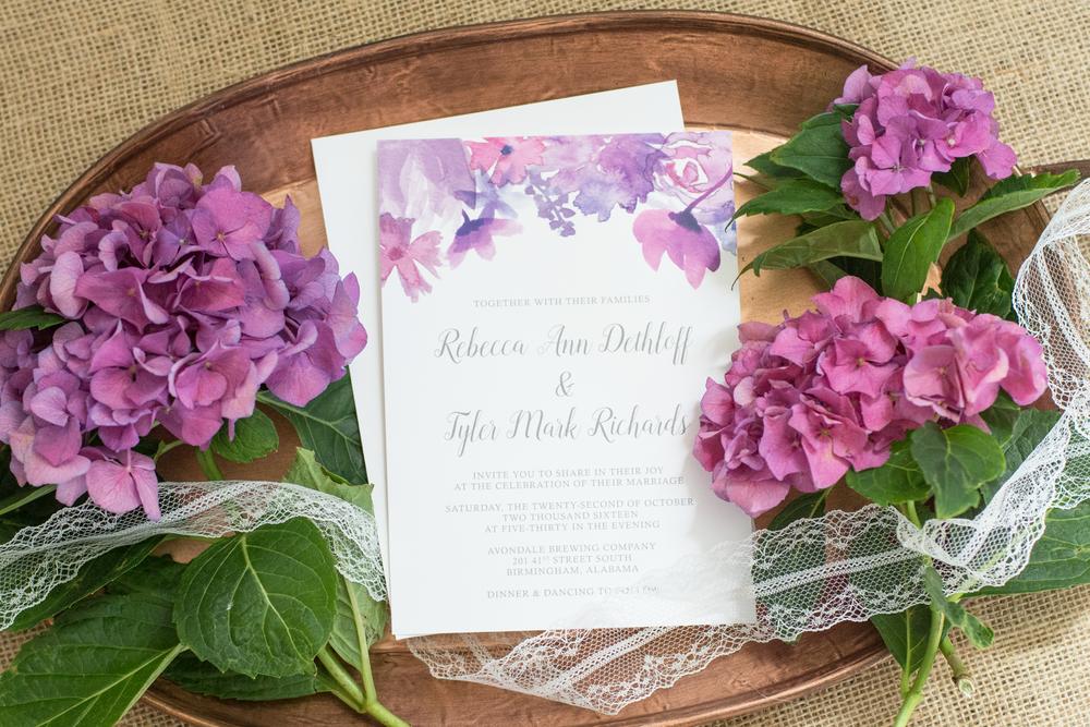 Purple Watercolor Floral Wedding Invitation Suite
