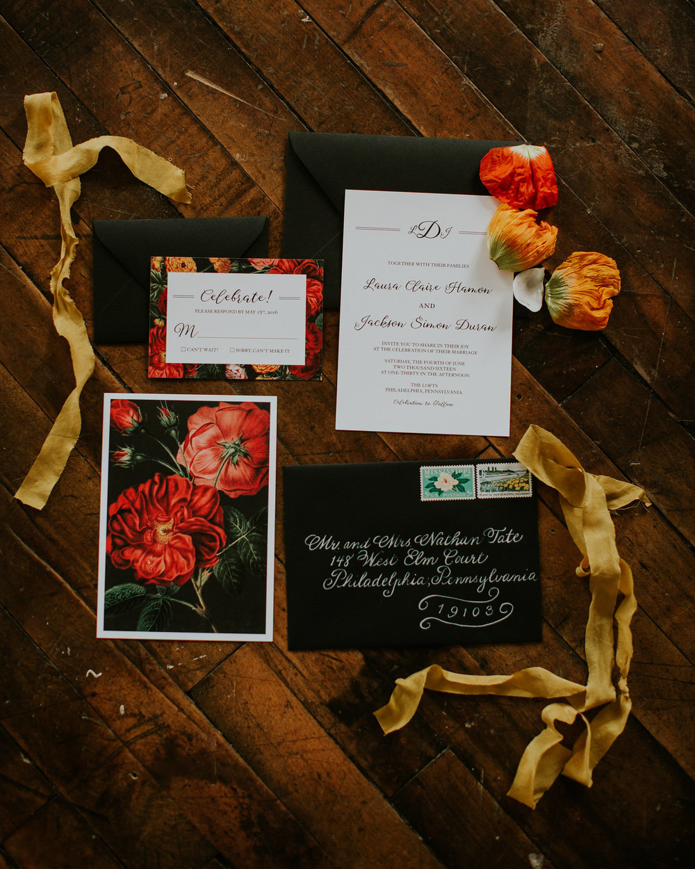 Edgy Philadelphia Photoshoot | Dark Botanical Invitations | New Jersey Wedding Invitations