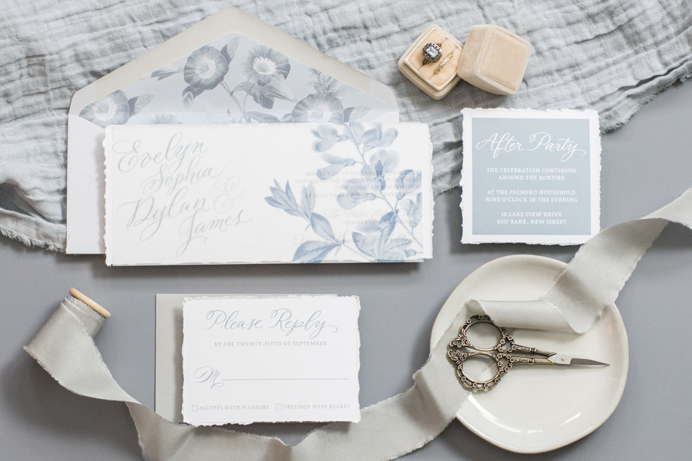 The Evelyn Suite | Dusty Blue Romantic Botanical Wedding Suite