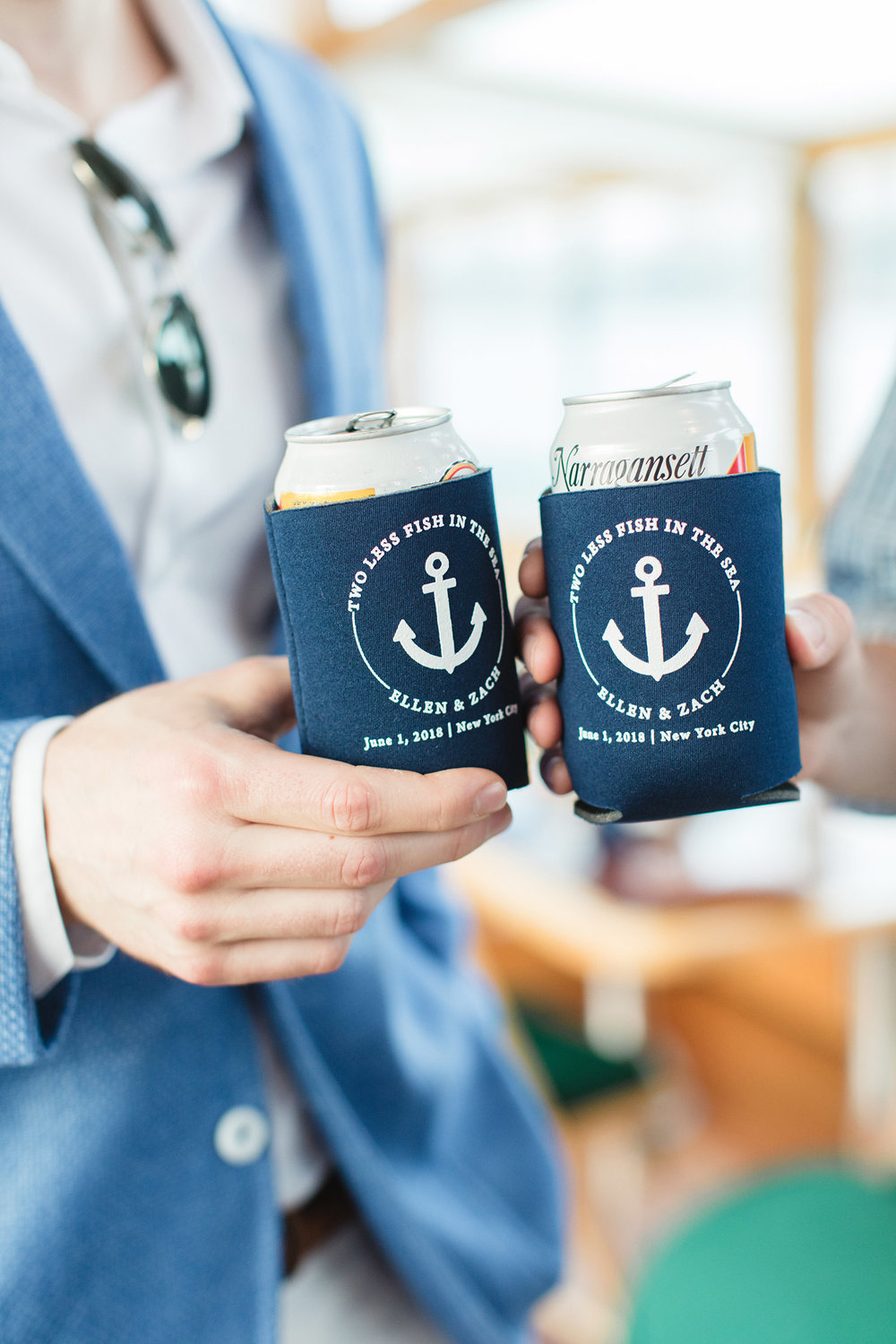 Chic Summer New York City Wedding Celebration - Custom Wedding Drink Koozies
