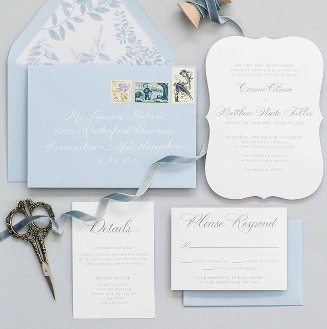 A classic beauty. The Corrine suite is beautiful in blue, but would look so pretty in any color! Available to order and customize with gorgeous calligraphy by @maryellencalligraphy