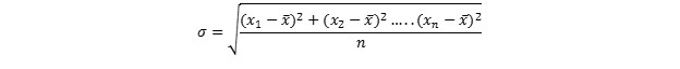 Equation 2: The standard deviation of a parameter is also divided by the sample size;therefore a large sample size decreases the standard deviation. This is demonstrated in the following table.