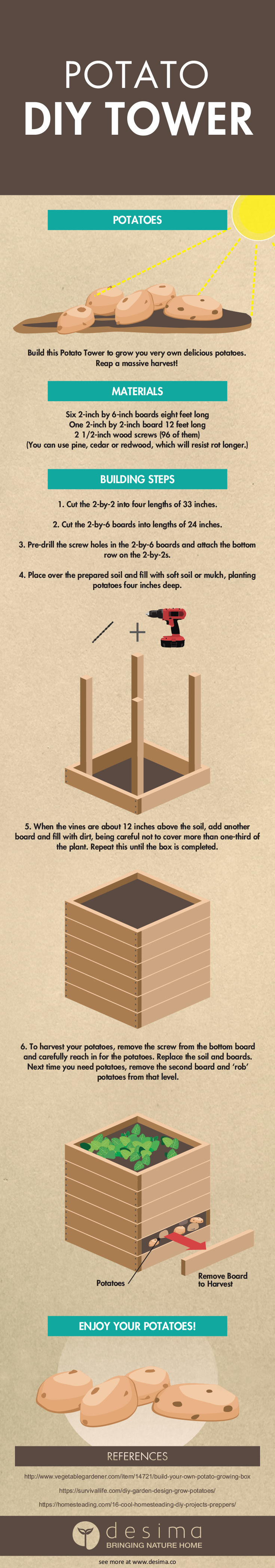 Potato DIY Tower Infographic