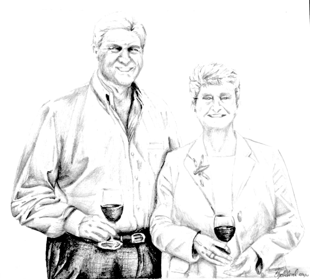 Tony and Edie Champ, White Hall Vineyards, Elizabeth Flood Pencil Drawing