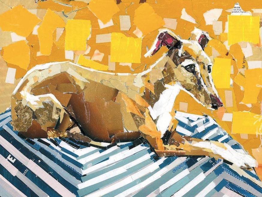 Paper Collage Dog Art by Maritza Hernandez