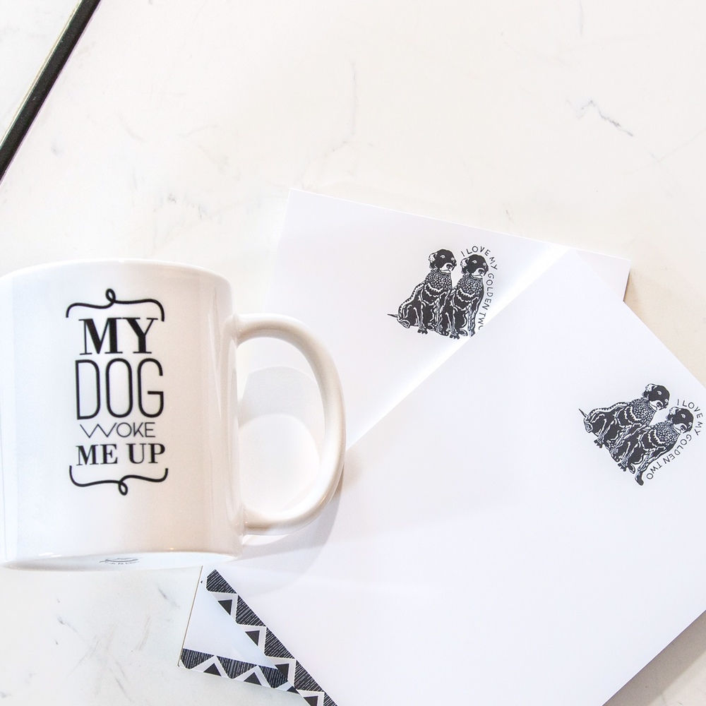 "Barkley & Wagz ""My Dog Woke Me Up"" Mug & ""I Love My Dogs"" Notepad"