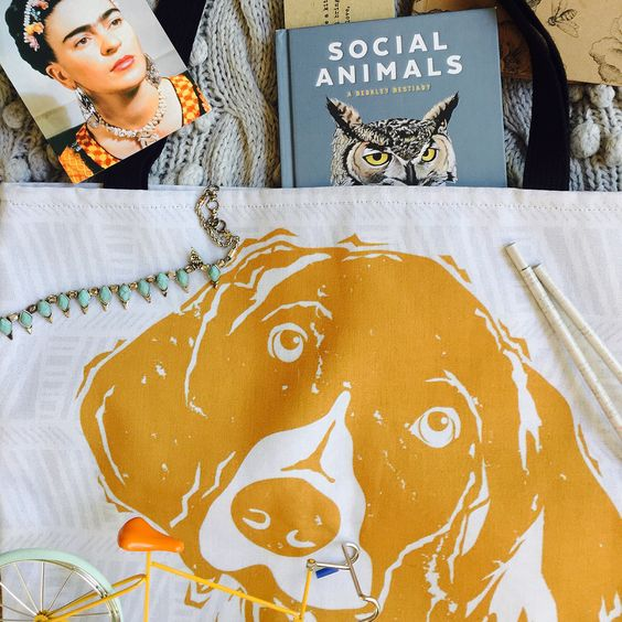 Barkley & Wagz Gold German Shorthaired Pointer Linodog Tote Bag on Etsy