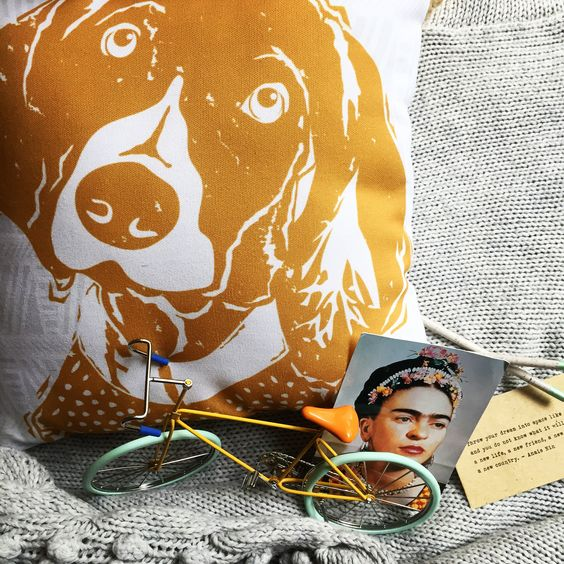 Gold German Shorthaired Pointer Pillow from Barkley & Wagz on Etsy