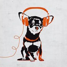 Music Love Chihuahua (Dog Art of Chihuahua Pup Wearing Orange Headphones)