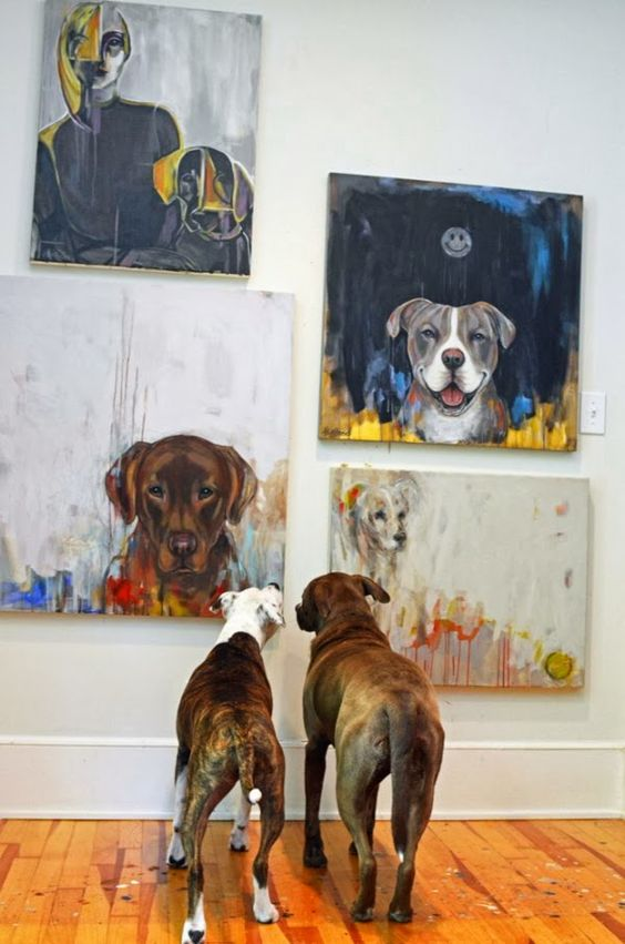 Two Dogs Viewing Dog-Inspired Art Gallery