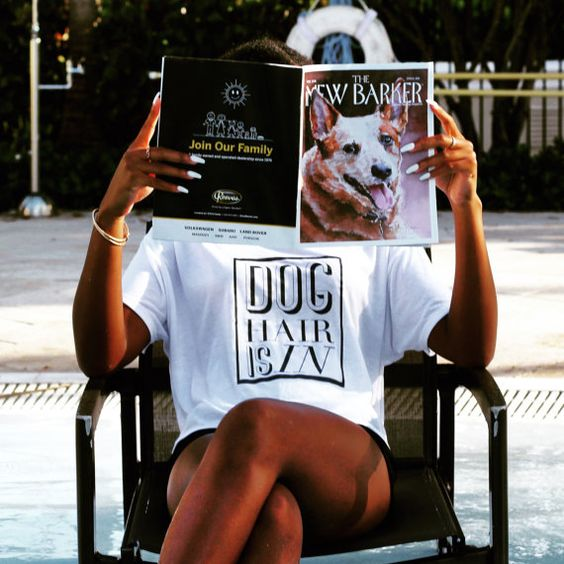 Pick a Style | Dog Hair is In | Dog Hair Don't Care Shirt | Typography Women's Graphic Funny T-Shirt from Barkley & Wagz