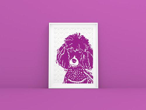 Poodle Linocut Wall Art — Barkley & Wagz