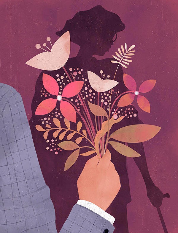 bust_magazine_dating_with_chronic_illness_man_bouquet_flowers_woman_bee_johnson_illustration.jpg