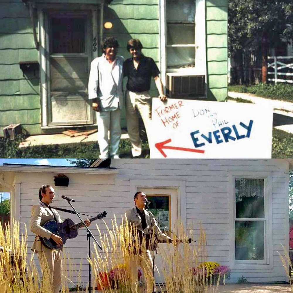 (top 1986) Don and Phil outside the home they spent much of their youth in (bottom 2017) Zach and Dylan performing outside The Everly family home