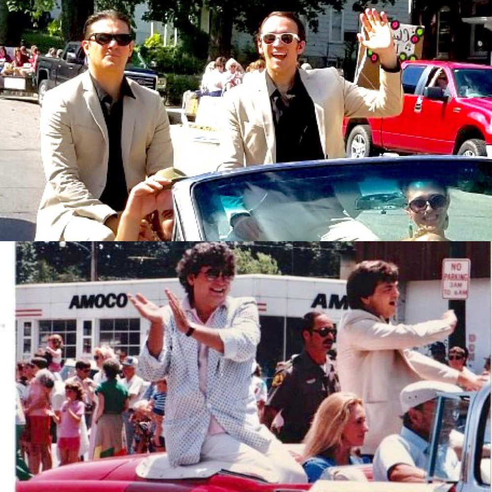 (top) Zach and Dyl in the Shenfest Parade, 2017 (bottom) Don and Phil in the Homecoming Parade, 1986