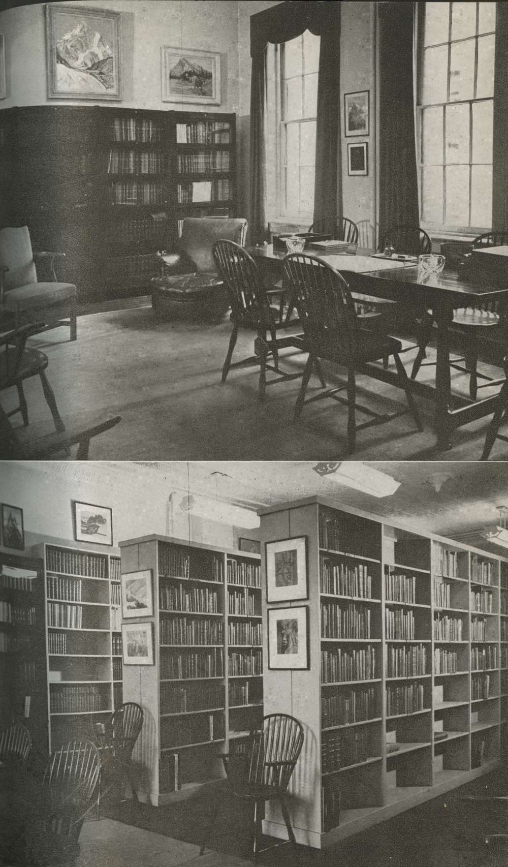 Photo: Henry S. Hall, Jr. American Alpine Club Library                      The Club Rooms & Library at 113 East 90th Street, NY, in 1948.