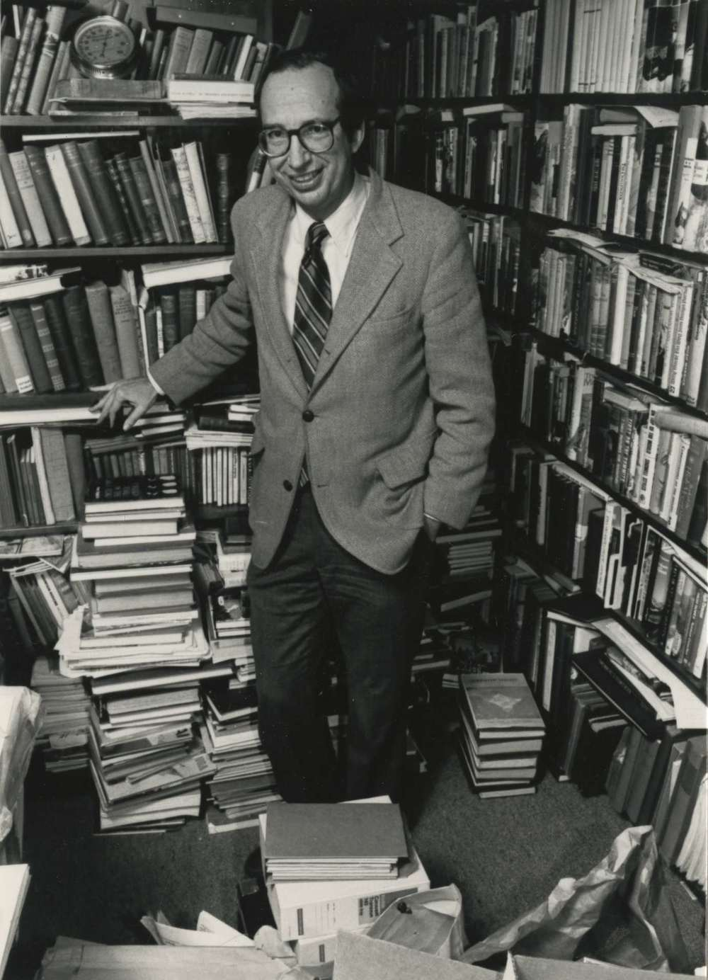 Nick and his books at his home library. Photo: Clinch Collection