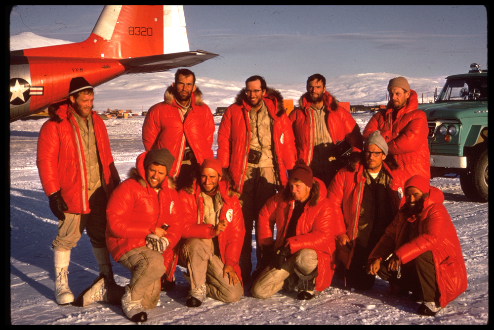 AAMEE team back at McMurdo (left to right) Standing: Evans, Wahlstrom, Clinch, Corbet, Schoening. Kneeling: Hollister, Silverstein, Marts, Long, Fukushima. Photo: 1966 AAME team
