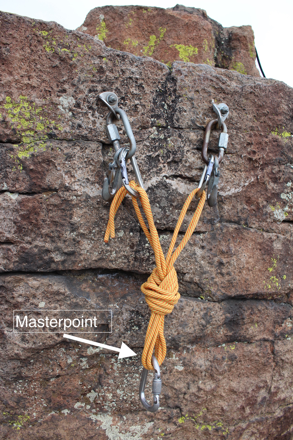 Similarly, a simple ponytail anchor with a cordellette provides a masterpoint with the effective strength of four strands of 7mm nylon cord.