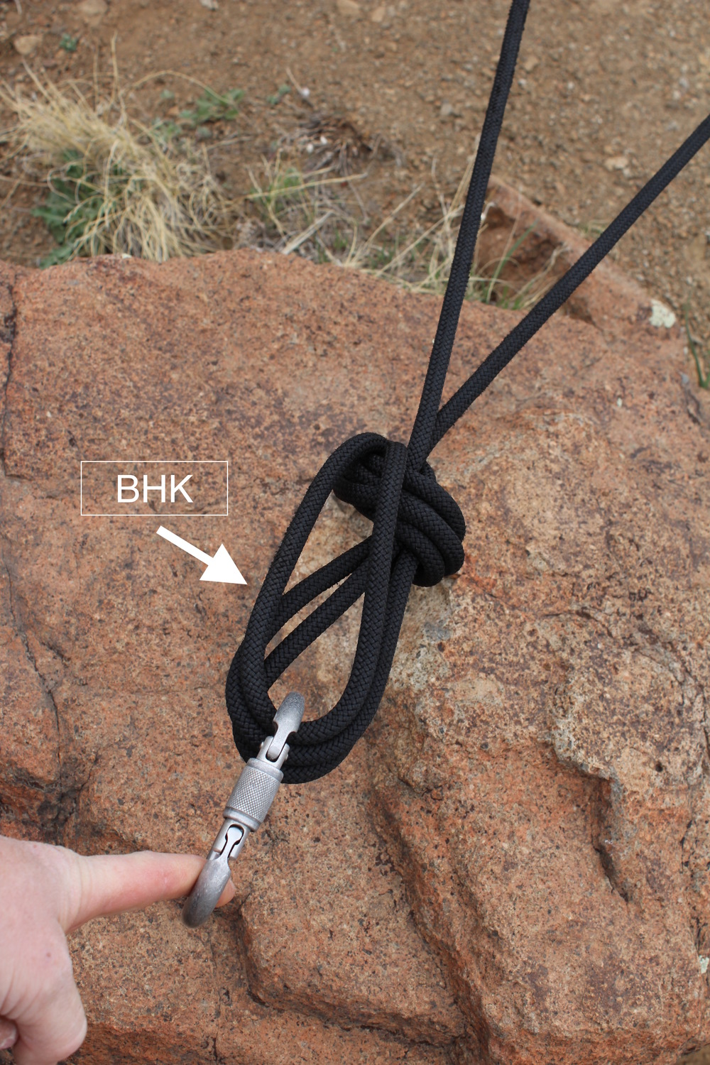 Once tied off, the anchor builder has to select a knot that combines the strength of the components, and retains all the values of an effective anchor.  Here, a BHK is an ideal choice.  It creates a redundant masterpoint.