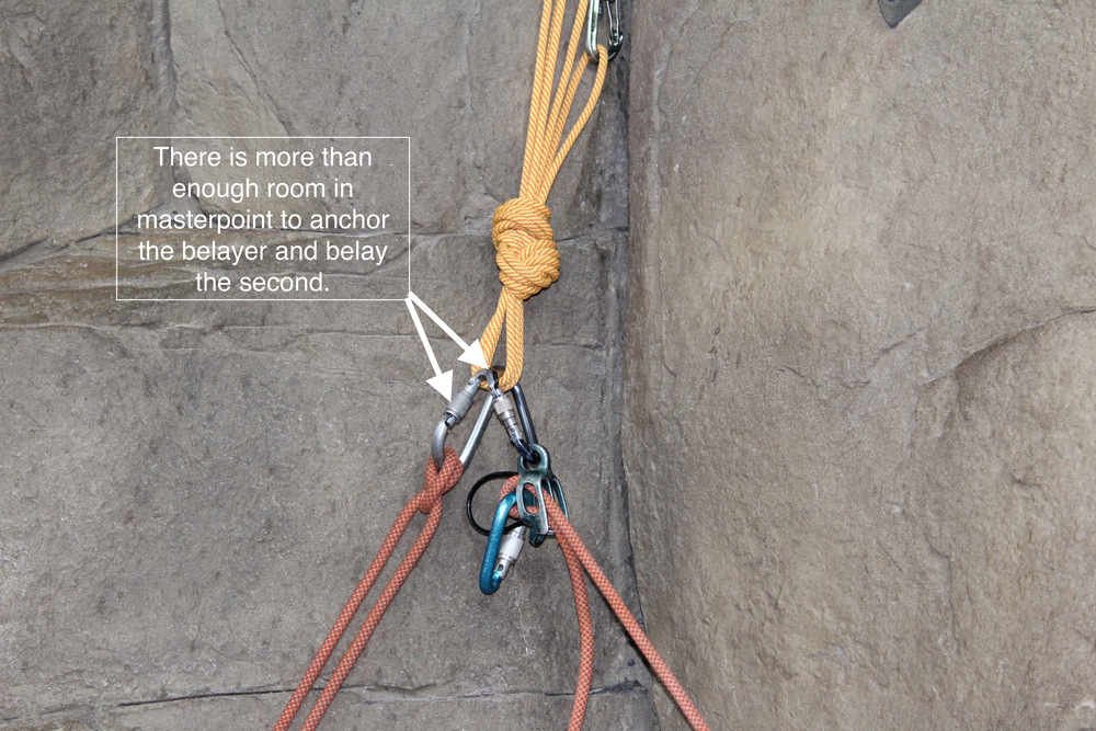 There is no need to use the shelf because the masterpoint can hold both anchored belayer and accommodate the belay device.  But, when the belayer starts storing things that are less vital, the shelf starts to present itself as a valuable auxiliary attachment point.