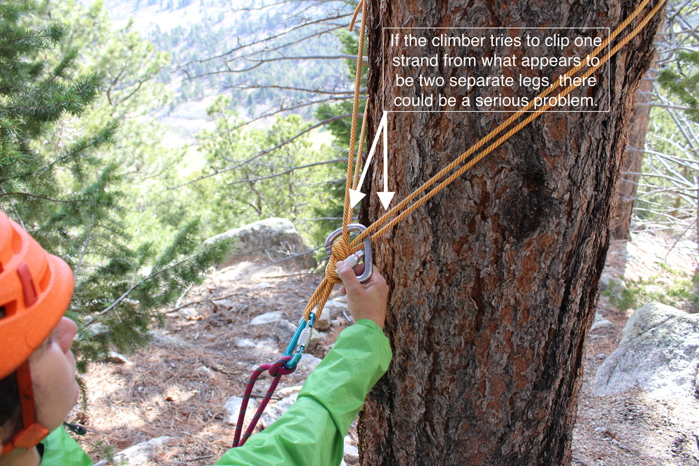 The climber accustomed to simply grabbing two strands may not be clipping the shelf.  It might be a false shelf.
