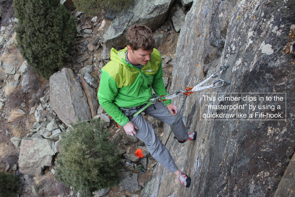 Clipping into both carabiners right alongside the rope is effectively the masterpoint of a sport anchor.  Luckily, sport climbing rarely necessitates the use of a masterpoint.
