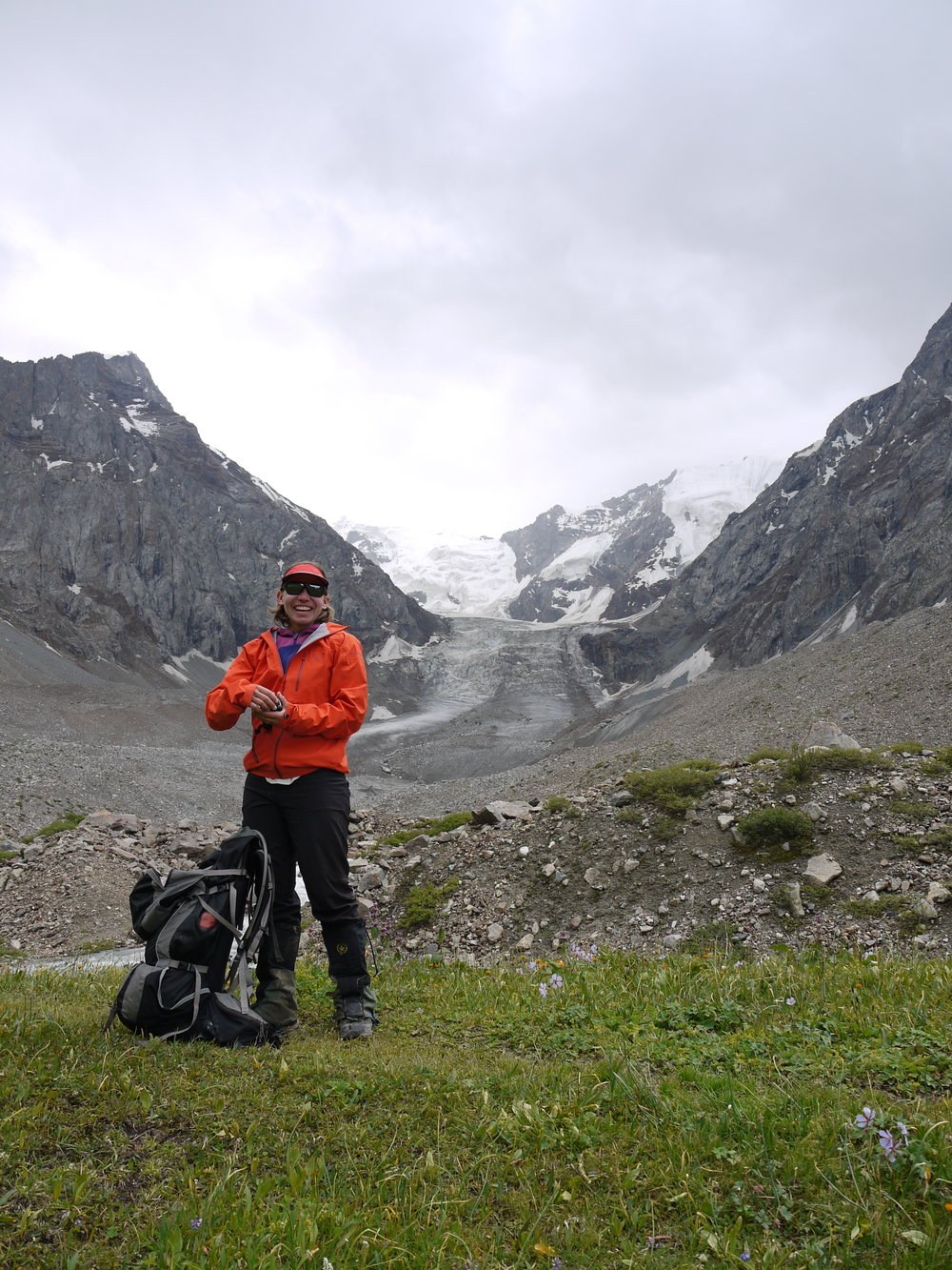 Alice Hill below the toe of the Karabatkak Glacier, Kyrgyzstan.