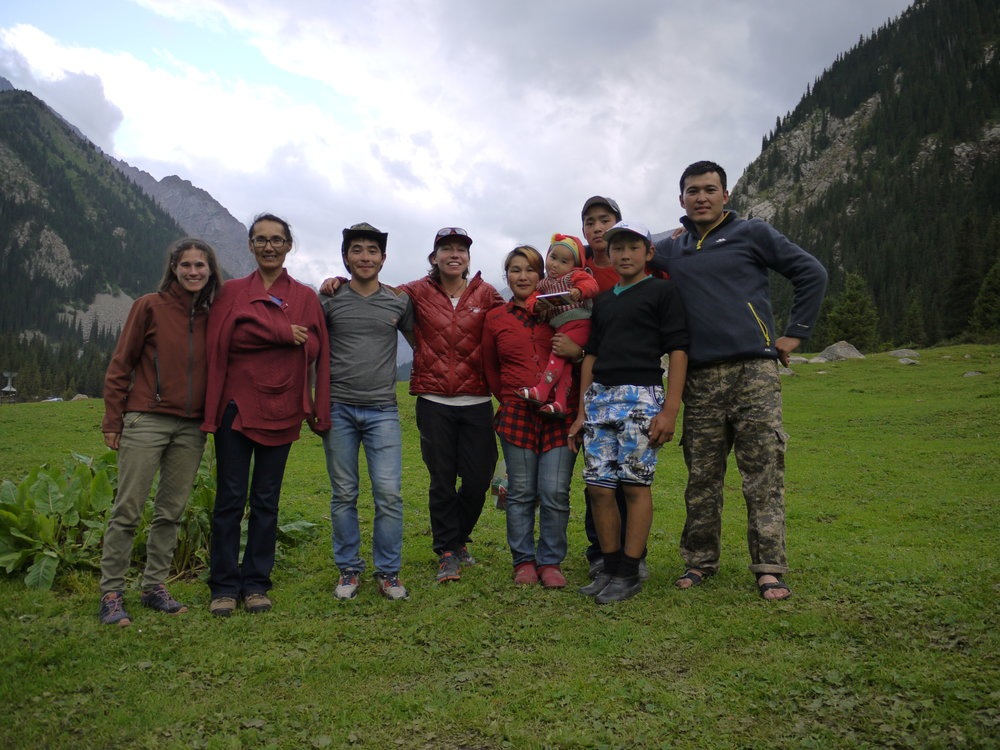 Alice Hill (center) and fellow CU researchers Alana Wilson and Cholpon Minbaeva (both left) were greeted with kindness and incredible hospitality by the locals in the Kyzyl Suu Basin, Kyrgyzstan.