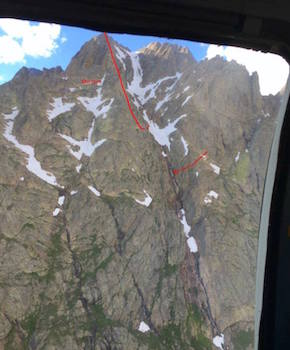 Solid line shows the upper Red Gully descent to the point where Jen slipped on the snowfield. Arrow marks the point where she stopped sliding.