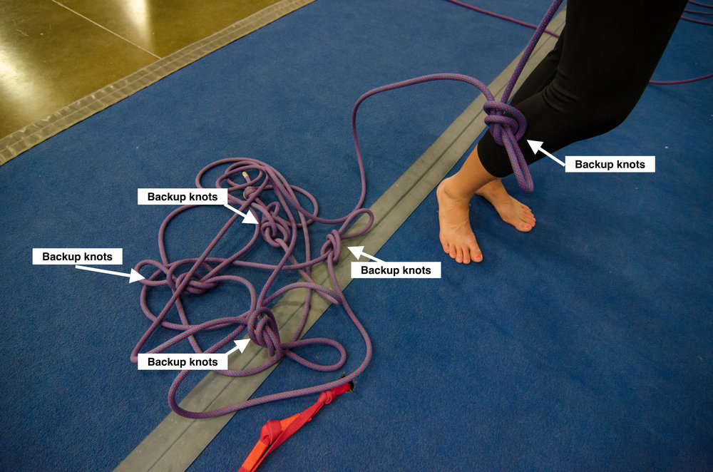 These backup knots, tied every 10 to 15 feet, provide a backup to the belayer when she does not have someone available to provide a backup belay.
